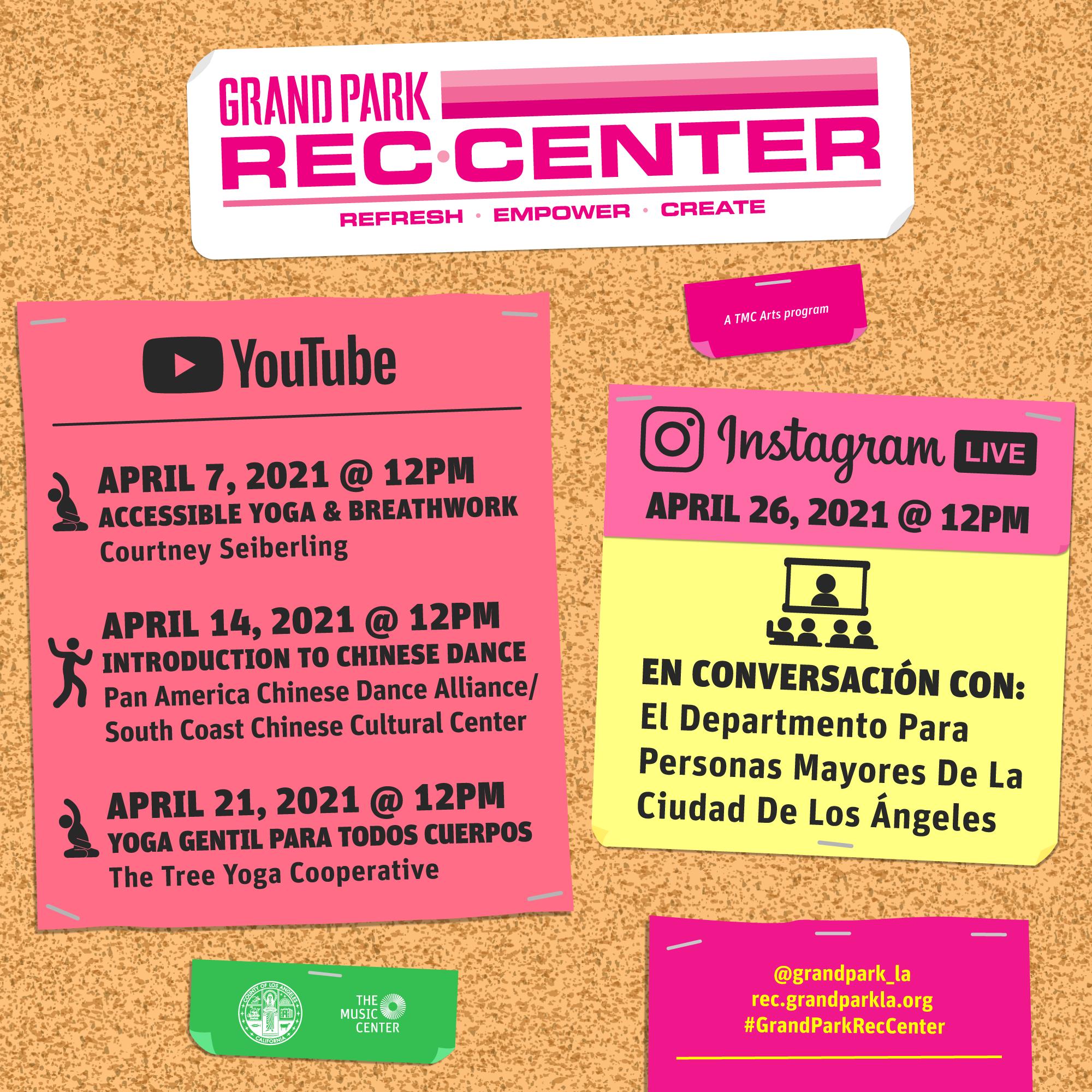 Grand Park REC Center April Lineup